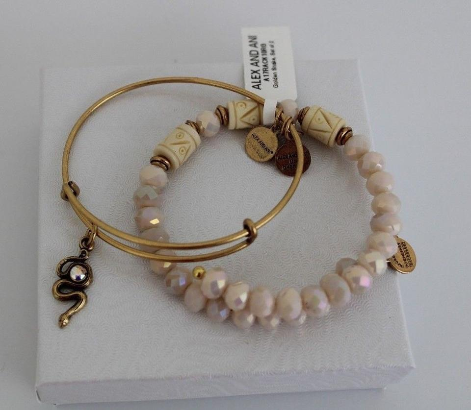 Alex And Ani Golden Snake Beaded Expandable Wire Bangle Set Of 2 Bracelet 54 Off Retail