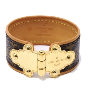Louis Vuitton Classic LV Save-It Monogram Canvas Gold-Tone Link Cuff Leather 19