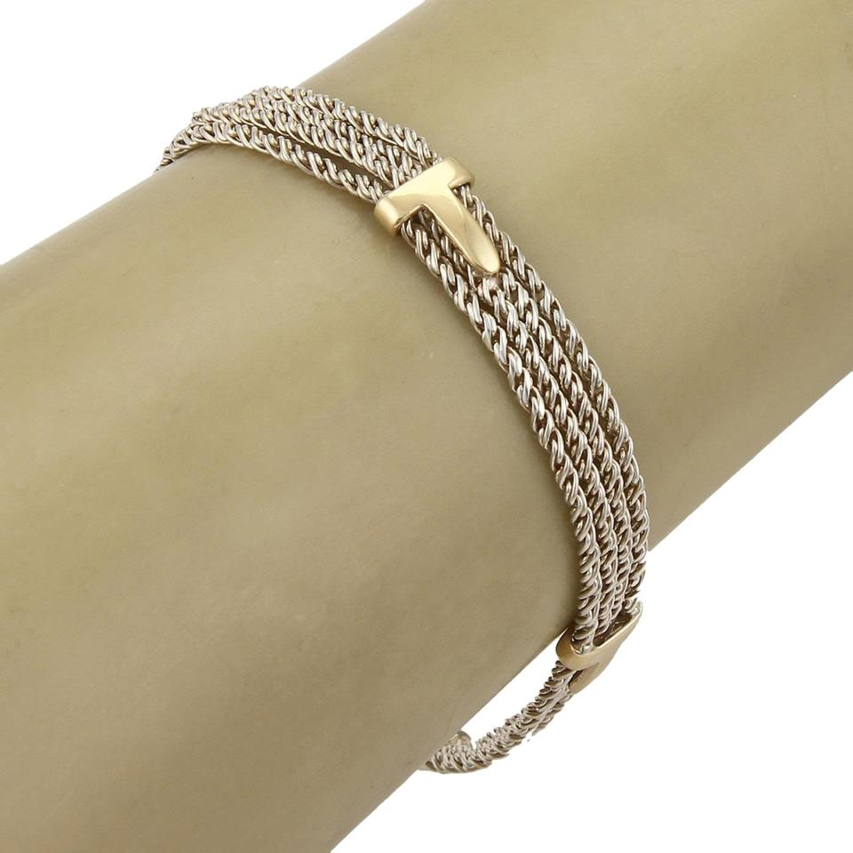 1bc3fe043 Tiffany & Co. 18k Yellow Gold Sterling Silver Triple Rope Chain T Bracelet  Image 0 ...