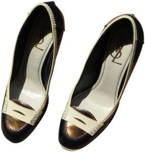 Saint Laurent Vintage Leather Ysl Black Navy blue with Cream trim, gold toe cap and heel Pumps