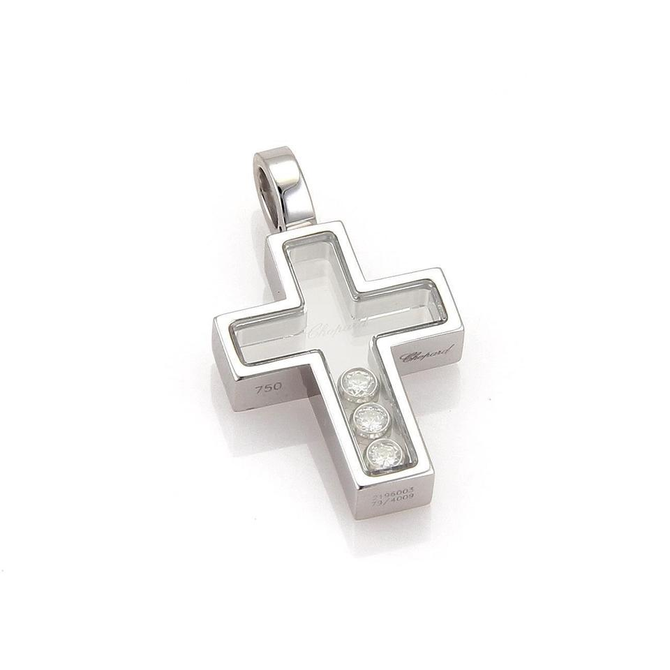 Chopard happy diamond 18k white gold floating diamond cross pendant mozeypictures Gallery