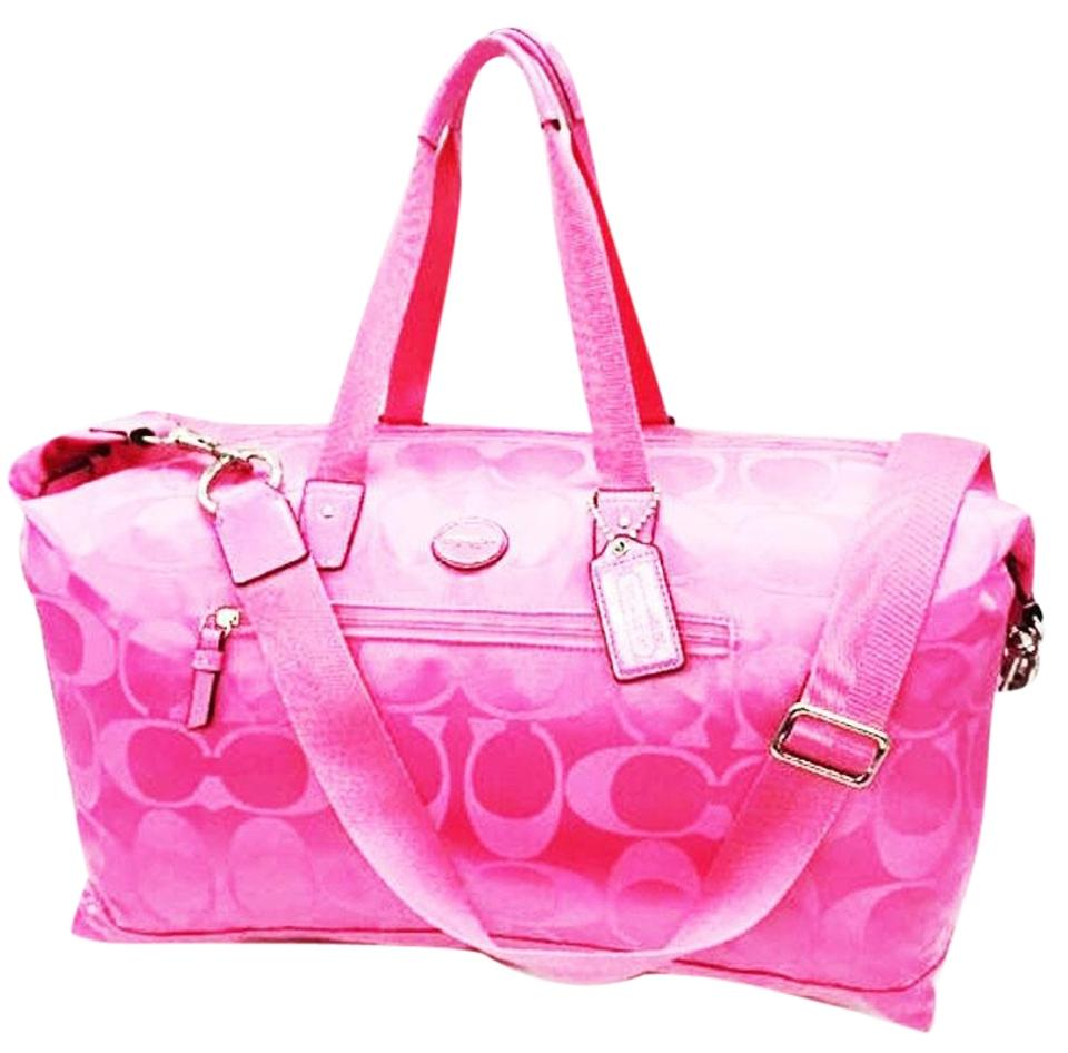 6c9e48d54b8e Coach Beach Gym Packable Foldable Nylon Washable Crossbody Tote Pink Travel  Bag ...