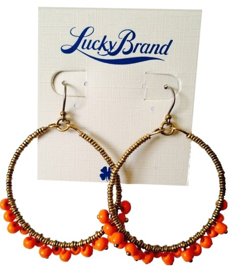 Lucky Brand NWOT Orange Large Beaded Hoop Earrings