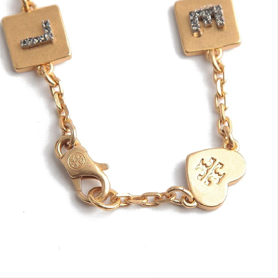 54741a820e0d4 Tory Burch Gold Love Message Delicate Chain Bracelet 30% off retail