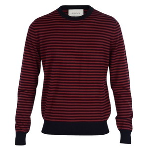 Gucci Red / Midnight Blue Fine Striped Cotton Cashmere Sweater M # 411730 Shirt