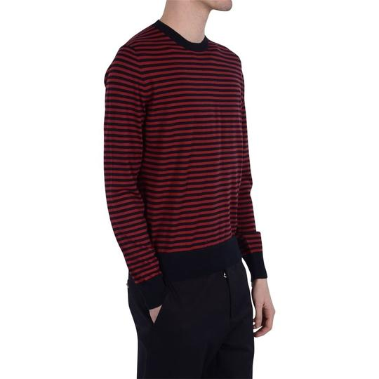 Gucci Red / Midnight Blue Fine Striped Cotton Cashmere Sweater M # 411730 Shirt Image 1