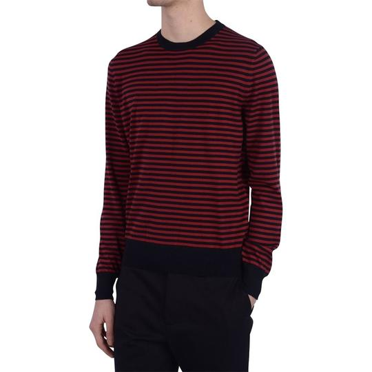 Gucci Red / Midnight Blue Fine Striped Cotton Cashmere Sweater M # 411730 Shirt Image 2