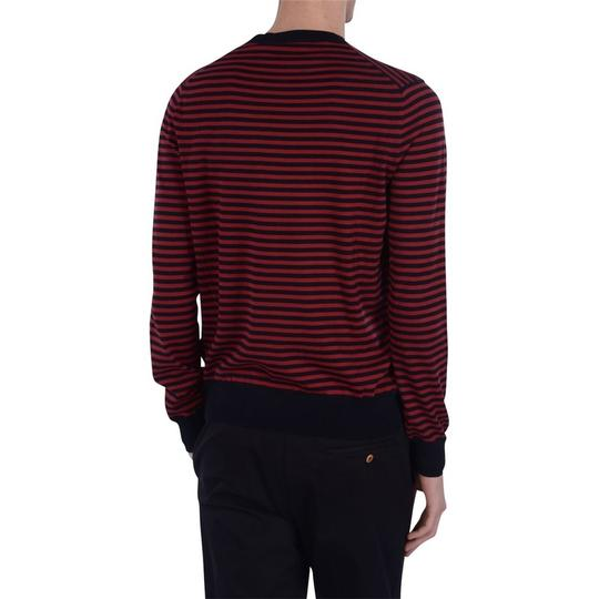 Gucci Red / Midnight Blue Fine Striped Cotton Cashmere Sweater M # 411730 Shirt Image 3