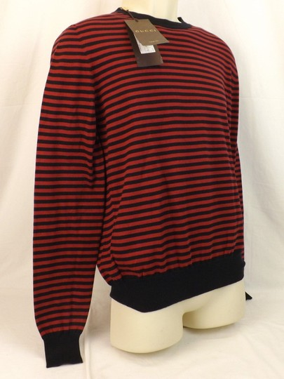 Gucci Red / Midnight Blue Fine Striped Cotton Cashmere Sweater M # 411730 Shirt Image 5