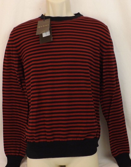 Gucci Red / Midnight Blue Fine Striped Cotton Cashmere Sweater M # 411730 Shirt Image 6
