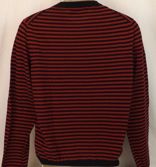 Gucci Red / Midnight Blue Fine Striped Cotton Cashmere Sweater M # 411730 Shirt Image 7