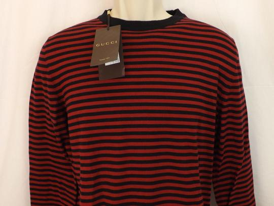 Gucci Red / Midnight Blue Fine Striped Cotton Cashmere Sweater M # 411730 Shirt Image 8