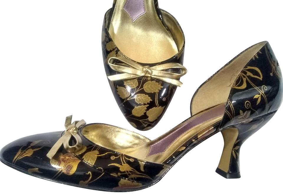 4e5f7b75f7a Hale Bob Black and Gold Leaf Floral Print Patent Leather Kitten Heels Pumps