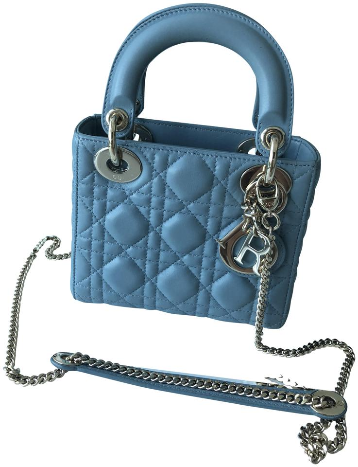 7e8e347074 Dior Lady Mini Light Blue Lambskin Leather Cross Body Bag - Tradesy