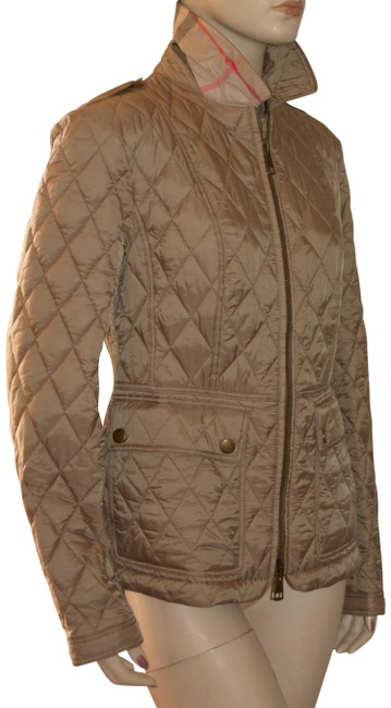 Burberry Pale Fawn Brit Womens Quilted Check Coat Small