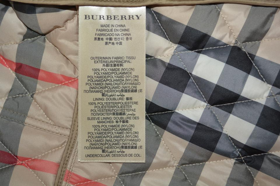 Burberry Pale Fawn Brit Womens Quilted Check Coat Small Jacket Size ... 69ab3b840065d