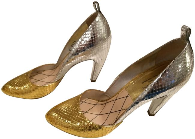 Item - Gold and Silver XL Two-tone Python Leather Pumps Size EU 39 (Approx. US 9) Regular (M, B)