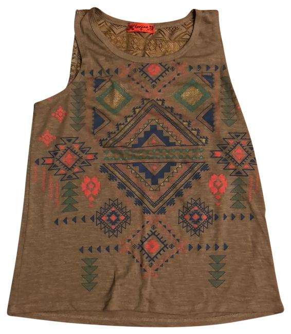 Item - Beige Multi Lace and Aztec Tank Top/Cami Size 2 (XS)