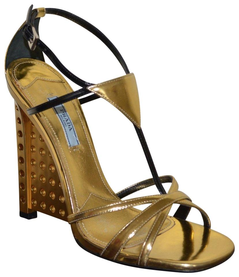d9eb0741a65e Prada Gold Leather Sandals Eu 39.5 Wedges Size US 9.5 Regular (M