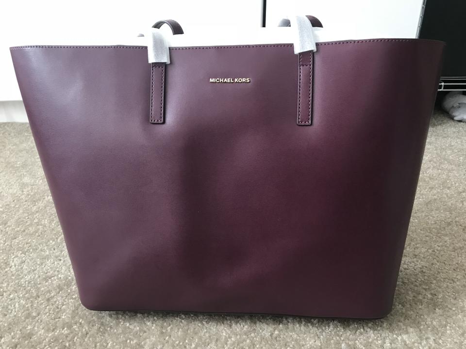 18d18c4d7b84 Michael Kors Emry Xl Extra Large Shoulder Black Plum Leather Tote - Tradesy