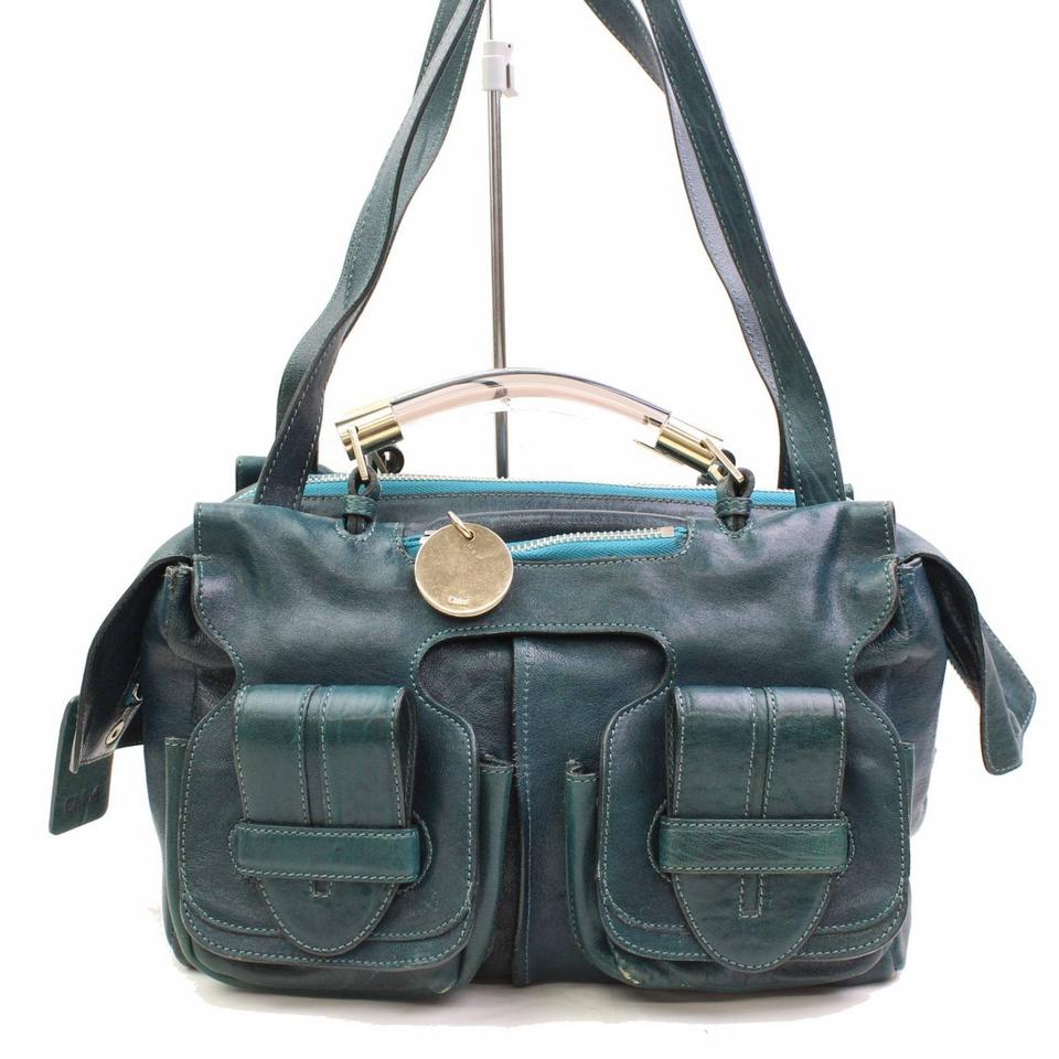 0e7bf69ad7 Chloé Clear Handle 2way 866584 Green Leather Shoulder Bag - Tradesy