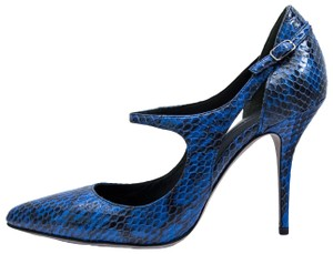 Alexander Wang Luxury Snakeskin Mary Jane Leather Blue Pumps