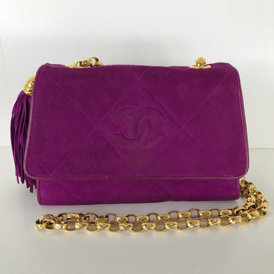 Chanel Classic Flap Rare Cc Logo Chain Vintage Purple Suede Cross ... a193d9dea93fb