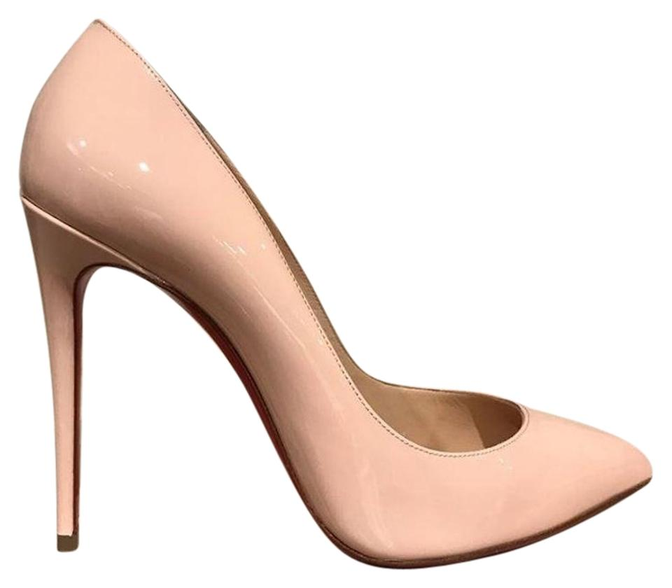 Christian Louboutin Pink Pigalle Follies 100 Pumps Nude Poudre Patent Heel Pumps 100 d07ddb