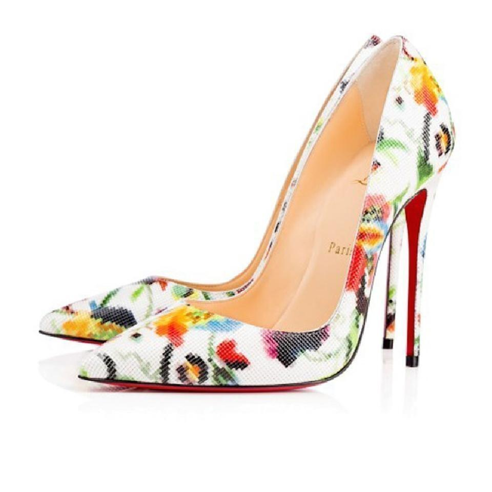 91f2d3364539 Christian Louboutin White Floral Classic So Kate 120mm Mosaique Leather  Print Point-toe Pumps
