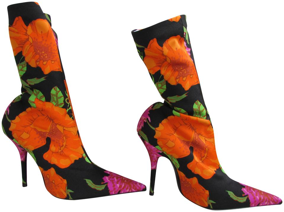 109f157659f6 Balenciaga Pink Orange Green Black Knife Spandex Floral Print Boots Booties