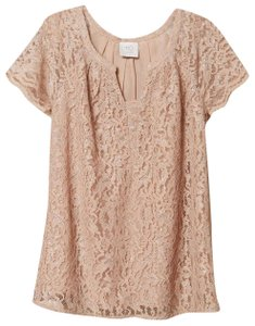 HD in Paris Lace Trim Anthropologie Timeless Top Pink
