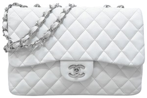 55a9382b1506 Added to Shopping Bag. Chanel Jumbo Single Flap Shoulder Bag. Chanel  Classic Flap Classic Jumbo Single White Lambskin Leather ...