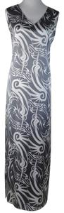 Multi Color Grey White Maxi Dress by Thomas Wylde Silk Maxi Resort