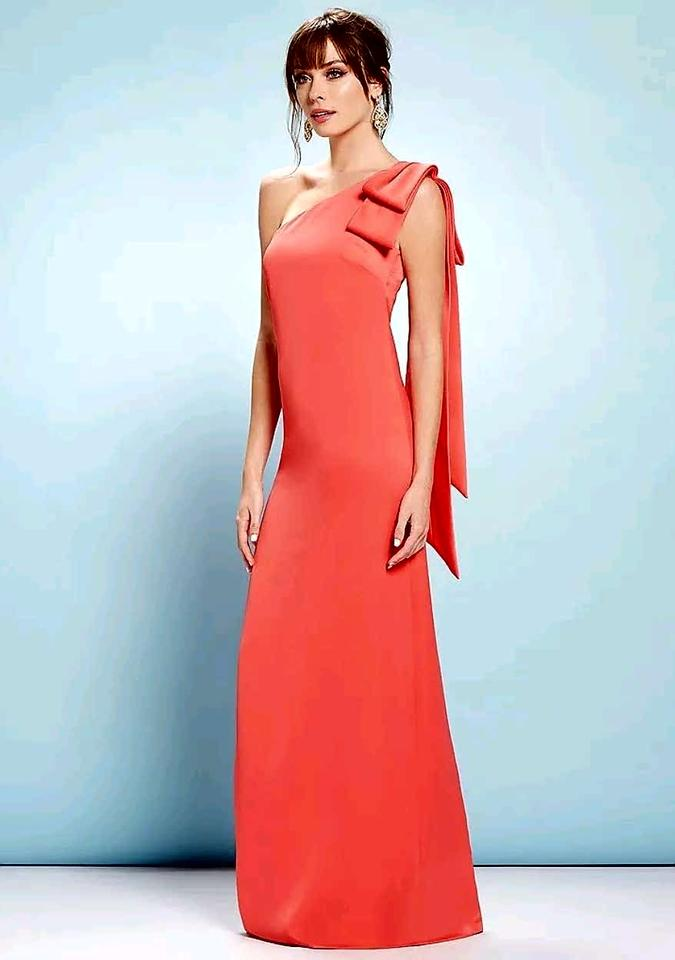Nicole Miller Coral New York One Shoulder Bow Crepe Gown Long Formal