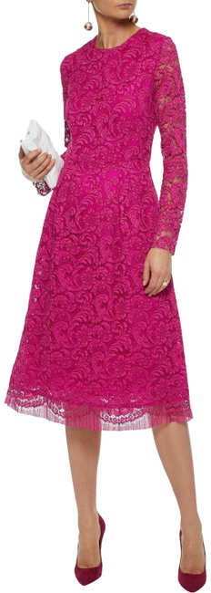 Item - Fuschia Corded Lace Mid-length Cocktail Dress Size 4 (S)