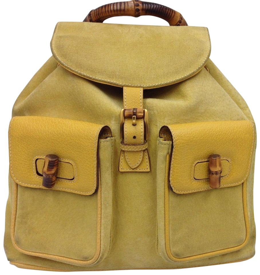 edf8848f6fef Gucci Bamboo Handle Large Yellow Suede Leather Backpack - Tradesy