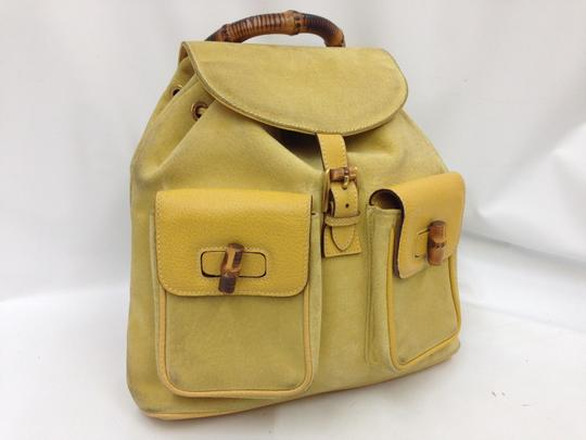 Gucci Vintage Suede Leather Italian Bamboo Backpack Image 1