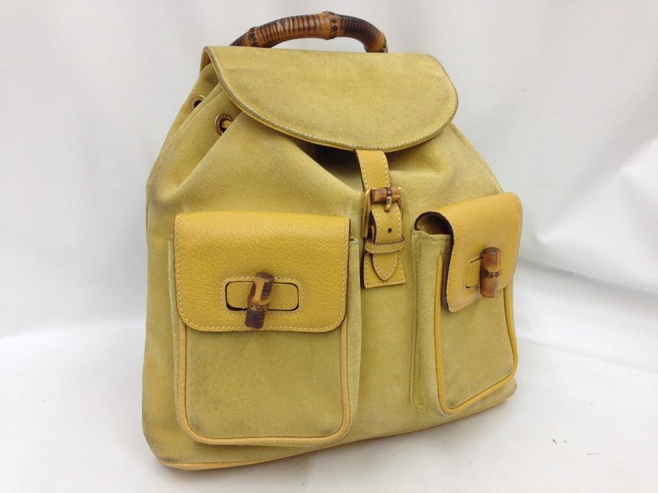 Gucci Bamboo Handle Yellow Suede Leather Backpack - Tradesy 518df4954908b