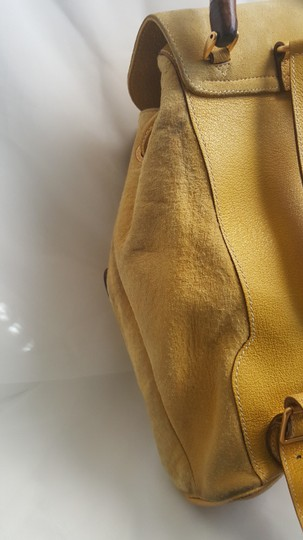 Gucci Vintage Suede Leather Italian Bamboo Backpack Image 11