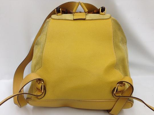 Gucci Vintage Suede Leather Italian Bamboo Backpack Image 2
