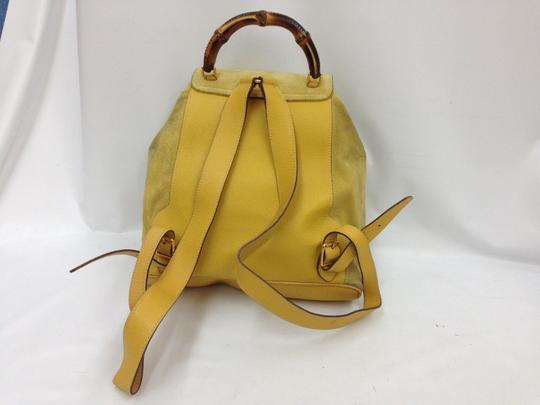 Gucci Vintage Suede Leather Italian Bamboo Backpack Image 4