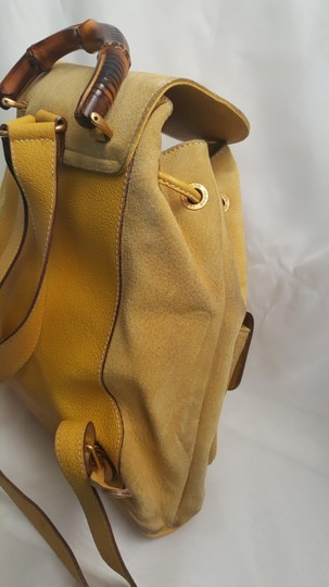 Gucci Vintage Suede Leather Italian Bamboo Backpack Image 8