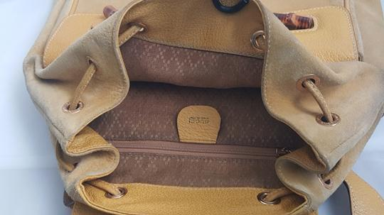 Gucci Vintage Suede Leather Italian Bamboo Backpack Image 9