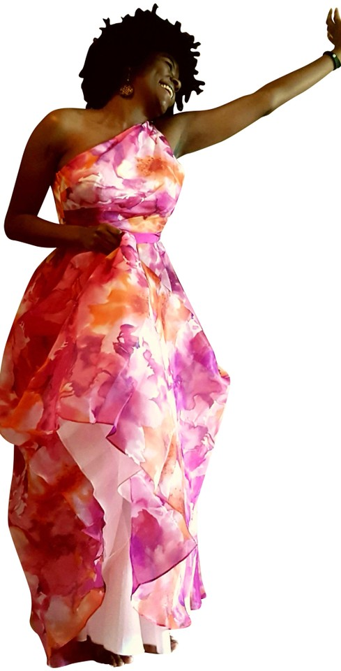 Carmen Marc Valvo Organdy Infusion Print One-shoulder Ballgown Long ...