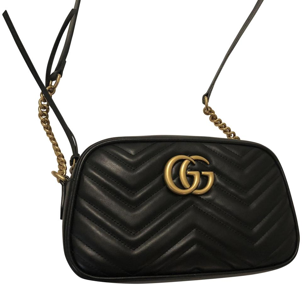 e7c82c3a1f3 Gucci Marmont Small Matelasse Black Leather Shoulder Bag - Tradesy