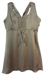 Limit Lo Satin Flowy Tank Dressy Sleeveless Top Taupe Silver