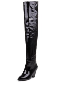 Jeffrey Campbell Patent Leather Thigh High Leather Black Boots