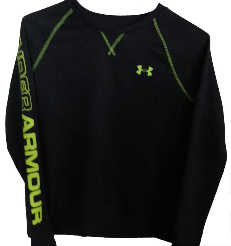 Under Armour Black and Neon Yellow Stitching and Detail  Thermal All Season  Gear Shirt  Loose Fit  Activewear Top Size 16 (XL, Plus 0x) 33% off retail