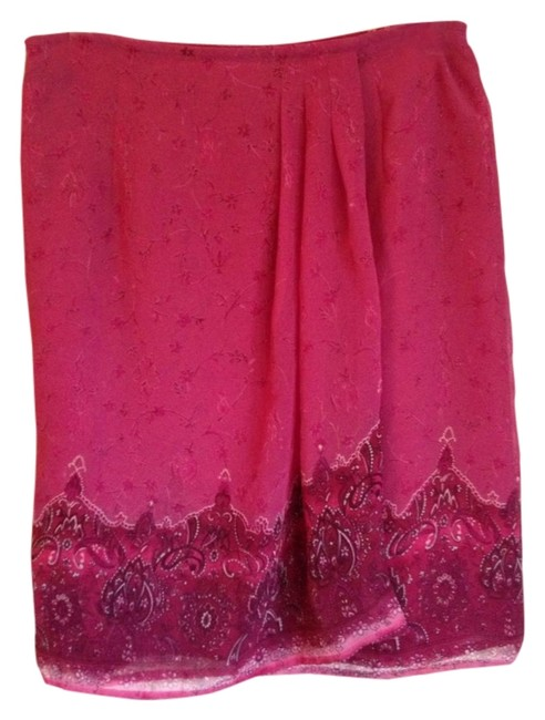 Other Summer Spring Casual Faux Wrap Skirt Fuschia pattern