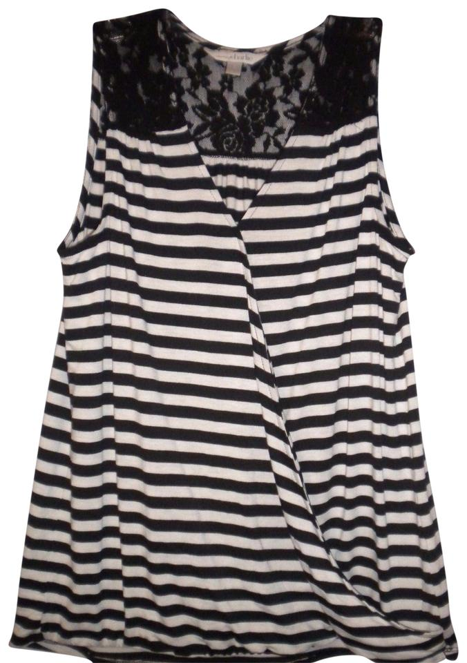 e4c41a19a95ce Charming Charlie Black White Sleeveless V-neck Crosses In Front Lace  Shoulders Top Black ...